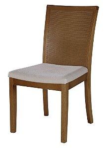 Cadeira Capri madeira Jequitibá imbuia J. com encosto em palha fina e assento estofado