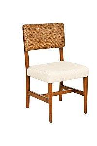 Cadeira Marilia madeira Jequitibá colonial com encosto em palha italiana e assento estofado