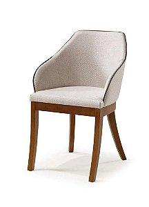 Cadeira Musa com braços madeira Jequitibá imbuia J. com assento e encosto estofados