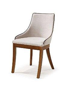 Cadeira Musa sem braços madeira Jequitibá imbuia J. com assento e encosto estofados