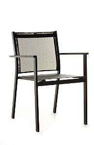 Cadeira Texas Alumínio Preto com Tela Preta