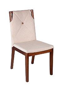 Cadeira Regata madeira Jetuitibá imbuia natural com assento e encosto estofados e detalhe em botão