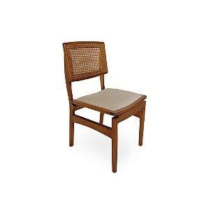 Cadeira Samara madeira Jequitibá colonial com encosto em palha sextavada e assento estofado