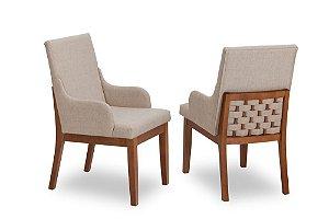 Cadeira Trama madeira Jequitibá imbuia J. com assento e encosto estofados e detalhe nas costas