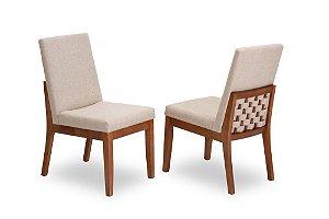 Cadeira Tricot madeira Jequitibá imbuia J. com assento e encosto estofados e detalhe nas costas