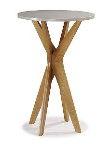 Mesa bistrô Summer madeira Jequitibá imbuia J. e tampo em laca com vidro colado pintado off white D67
