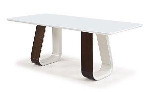 Mesa Catarina madeira Tauari capuccino com laca e vidro colado pintado branco