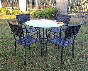 Conjunto com 1 mesa Montana D80 e 4 cadeiras Dallas em aço galvanizado e sintético Preto