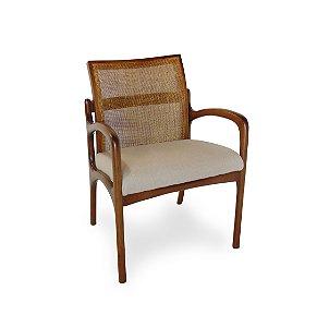 Cadeira Nice em Madeira com Telinha com Braços