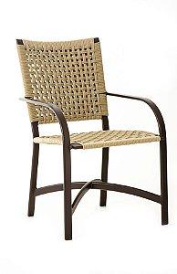 Cadeira Carol Alumínio Marrom com Corda Náutica Bege