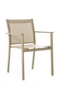 Cadeira Texas Alumínio Champanhe com Tela Bege