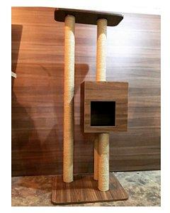 Torre arranhador  com Casinha - Madeira escuro + Madeira Clara
