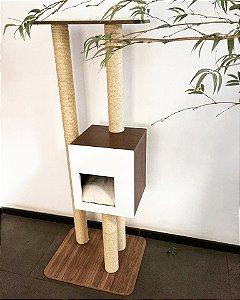 Torre arranhador Mesclado - Branco com madeira escura