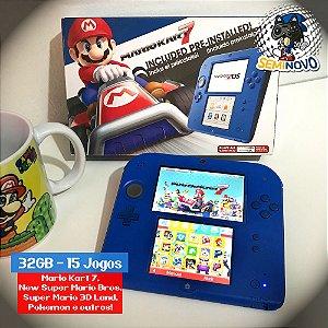Nintendo 2DS Blue com 15 Jogos - 32GB