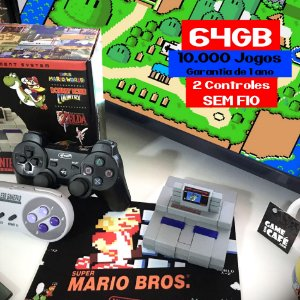 Mini SNES Retro 10.000 e 2 Controles Sem fio