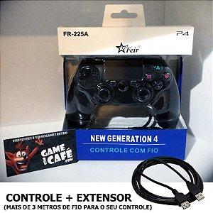 Controle Com Fio PS4 + Extensor