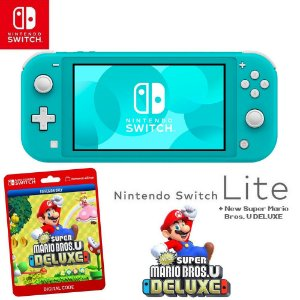 Nintendo Switch Lite Blue + New Super Mario Bros U