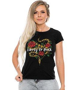 Camiseta Baby Look Feminina Liberty or Death Team Six
