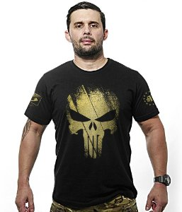 Camiseta Militar Justiceiro Punisher Gold Line