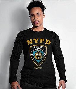 Camiseta Manga Longa Police NYPD Frente e Costas