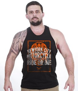 Camiseta Regata Motorcycle New York City Ride Or Die