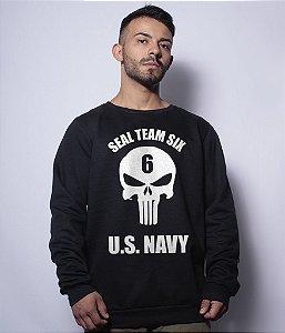 Casaco Básico de Moletom Punisher Seal Us Navy