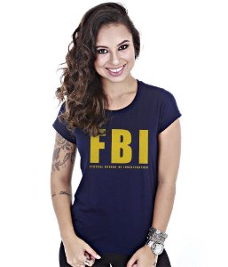 Camiseta Militar Baby Look Feminina FBI Federal Bureau of Investigation