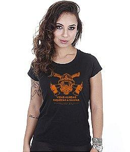 Camiseta Militar Baby Look Feminina Bombeiros Vidas Alheias