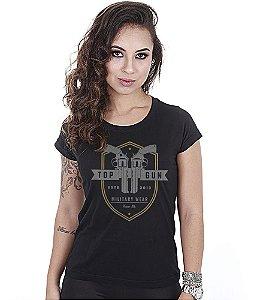Camiseta Militar Baby Look Feminina Top Gun