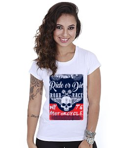 Camiseta Baby Look Feminina Motorcycle T6 Road Race