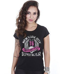Camiseta Baby Look Feminina Motorcycle Super Motor