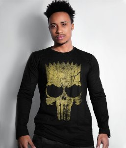 Camiseta Manga Longa Punisher Bart Gold Line