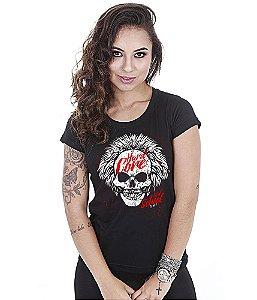 Camiseta Baby Look Feminina Hardcore Skull