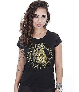 Camiseta Baby Look Feminina Molon Labe Gold Line