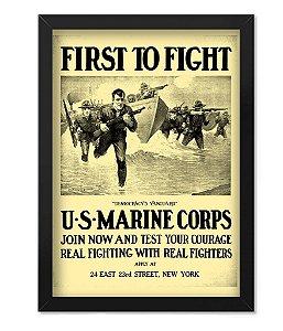 Poster com Moldura Militar First To Fight