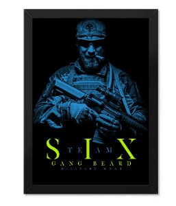 Poster com Moldura Militar Beard Gang