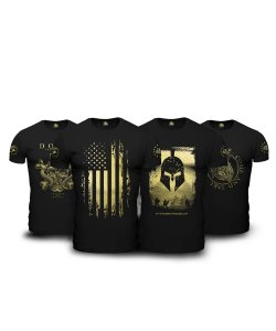Kit  4 Camisetas Militares Pretas Masculinas Soldiers Of Fortune