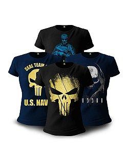 Kit 4 Camisetas Baby look Femininas Militares Soldier
