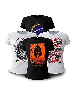 Kit 4 Camisetas Baby look Femininas Militares Parabellum