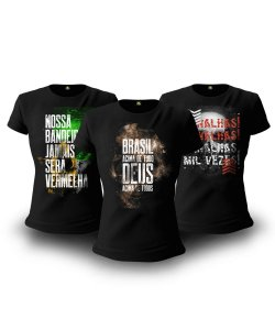 Kit 3 Camisetas Baby look Femininas Militares Brasil Acima de Tudo