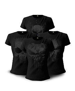 Kit 4 Camisetas Militares Baby Look Femininas Dark Line Justiceiro à paisana