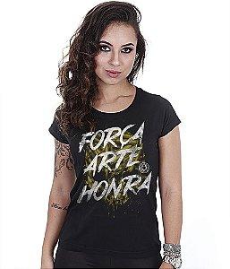 Camiseta Militar Baby Look Feminina Squad T6 Camacho Força Arte Honra