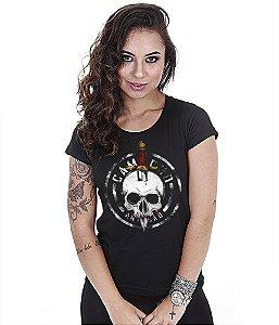 Camiseta Militar Baby Look Feminina Squad T6 Camacho Artesão Faca na Caveira Tributo ao Bope