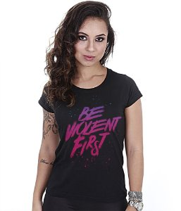 Camiseta Militar Baby Look Feminina Be Violent First Team Six