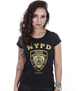 Camiseta Militar Baby Look Feminina NYPD Gold Line