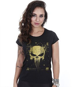 Camiseta Militar Baby Look Feminina New Punisher Gold Line