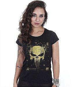 Camiseta Militar Baby Look Feminina New Punisher Gold Line