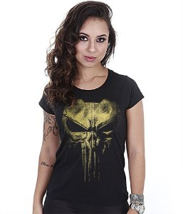 Camiseta Militar Baby Look Feminina Punisher Plate Gold Line