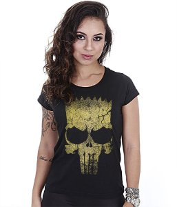 Camiseta Militar Baby Look Feminina Punisher Bart Gold Line