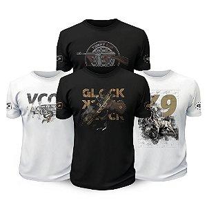 Kit 4 Camisetas Militares Vintage Gun Tactical Fritz Team Six